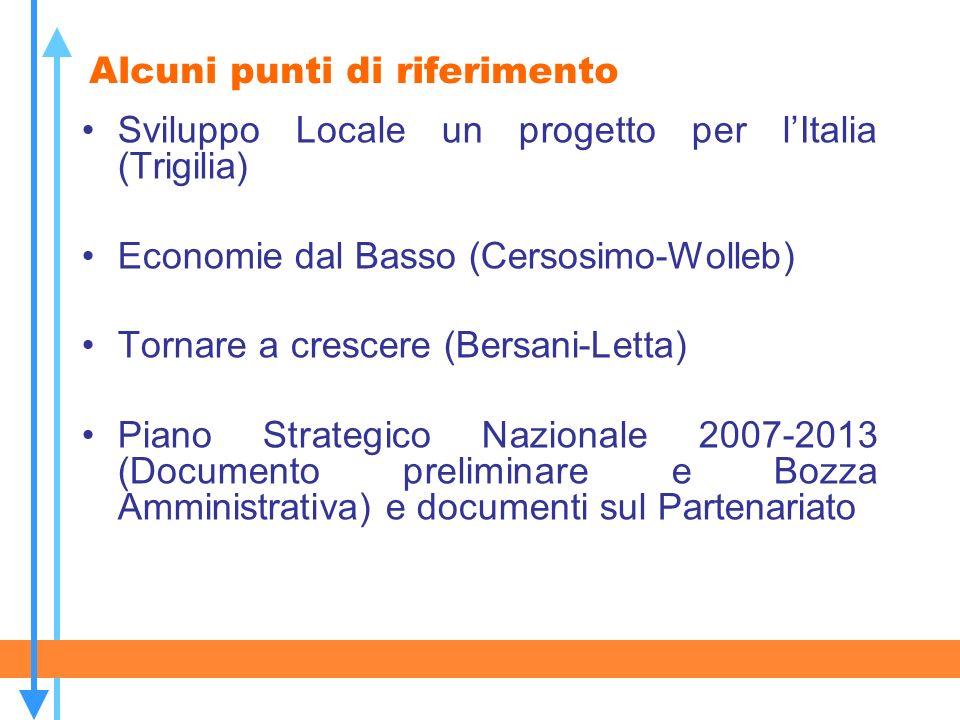 Alcuni punti di riferimento Sviluppo Locale un progetto per lItalia (Trigilia) Economie dal Basso (Cersosimo-Wolleb) Tornare a crescere (Bersani-Letta