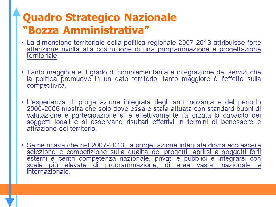 Quadro Strategico Nazionale Bozza Amministrativa La dimensione territoriale della politica regionale 2007-2013 attribuisce forte attenzione rivolta al