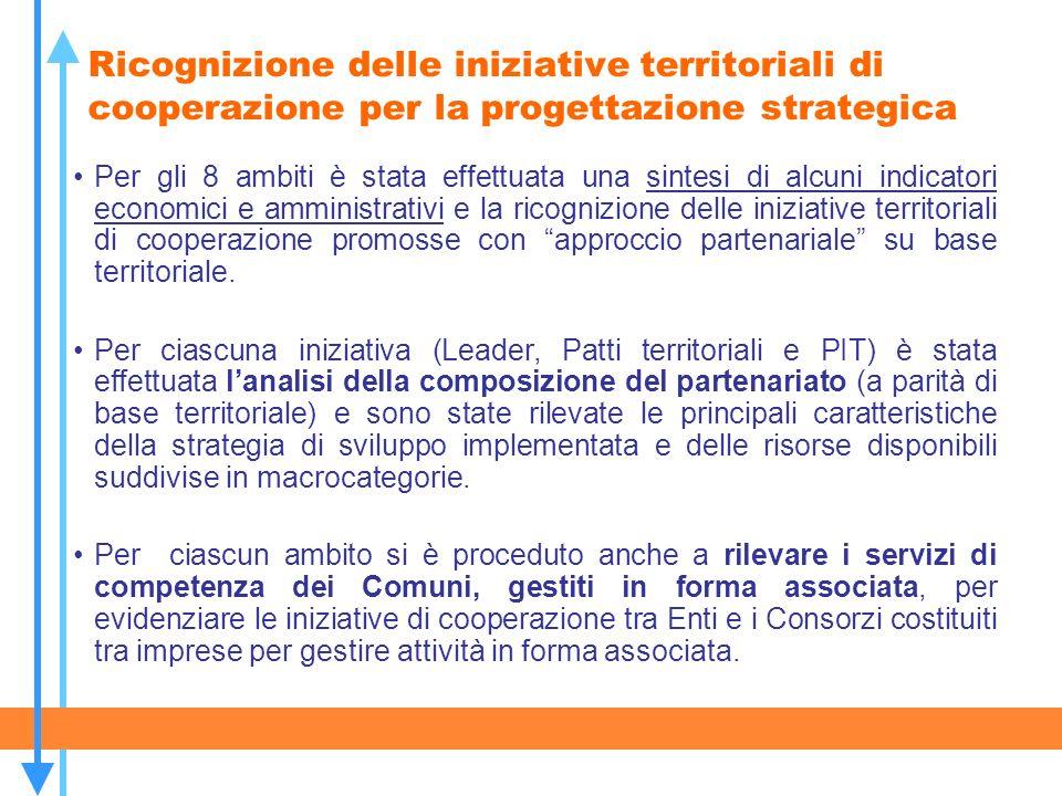 Ricognizione delle iniziative territoriali di cooperazione per la progettazione strategica Per gli 8 ambiti è stata effettuata una sintesi di alcuni i