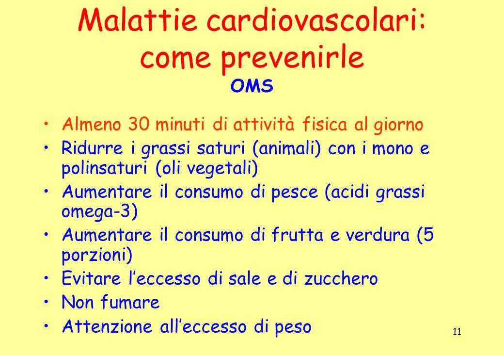 11 Malattie cardiovascolari: come prevenirle OMS Almeno 30 minuti di attività fisica al giorno Ridurre i grassi saturi (animali) con i mono e polinsat