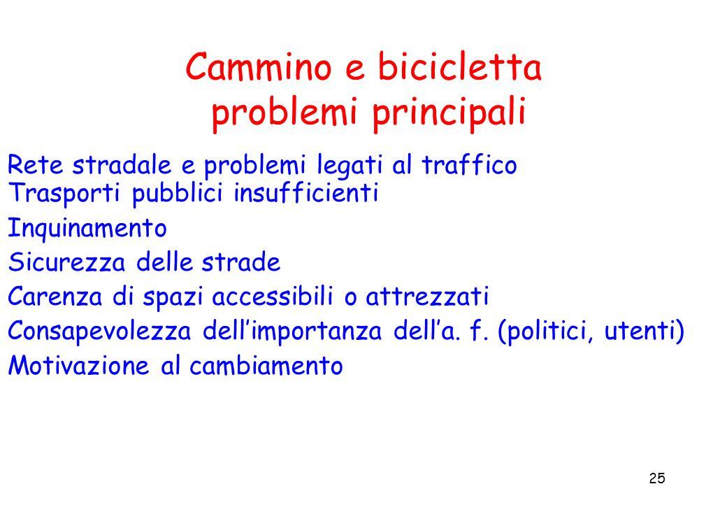 25 Cammino e bicicletta problemi principali Rete stradale e problemi legati al traffico Trasporti pubblici insufficienti Inquinamento Sicurezza delle