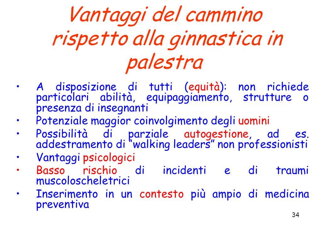 34 Vantaggi del cammino rispetto alla ginnastica in palestra A disposizione di tutti (equità): non richiede particolari abilità, equipaggiamento, stru