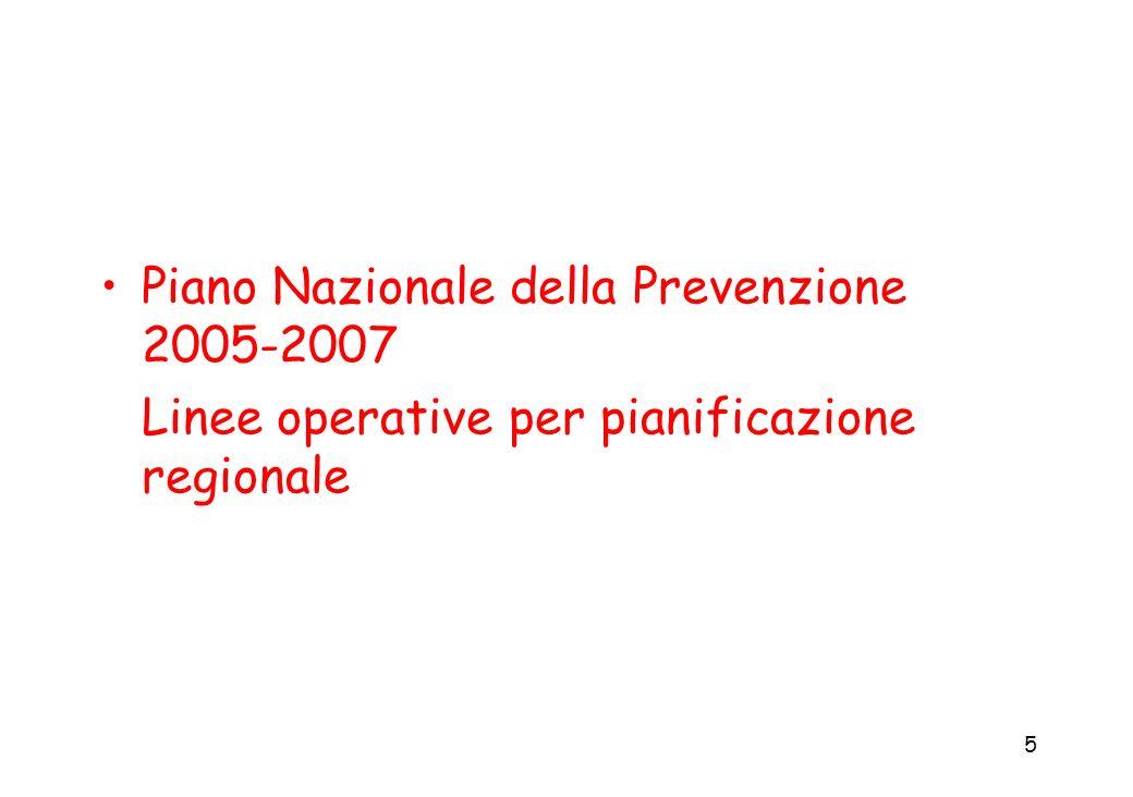 5 Piano Nazionale della Prevenzione 2005-2007 Linee operative per pianificazione regionale
