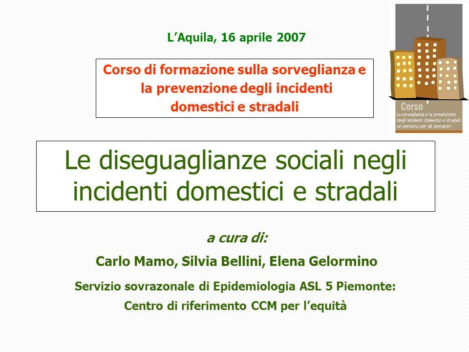 RR di mortalità da incidenti stradali per classe sociale (Schizzerotto).
