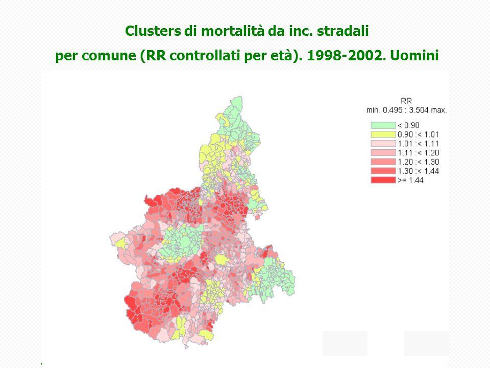 Clusters di mortalità da inc. stradali per comune (RR controllati per età). 1998-2002. Uomini