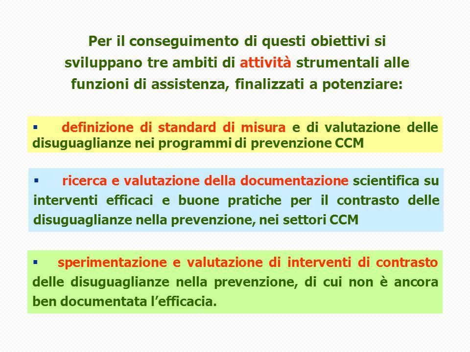 sperimentazione e valutazione di interventi di contrasto delle disuguaglianze nella prevenzione, di cui non è ancora ben documentata lefficacia.