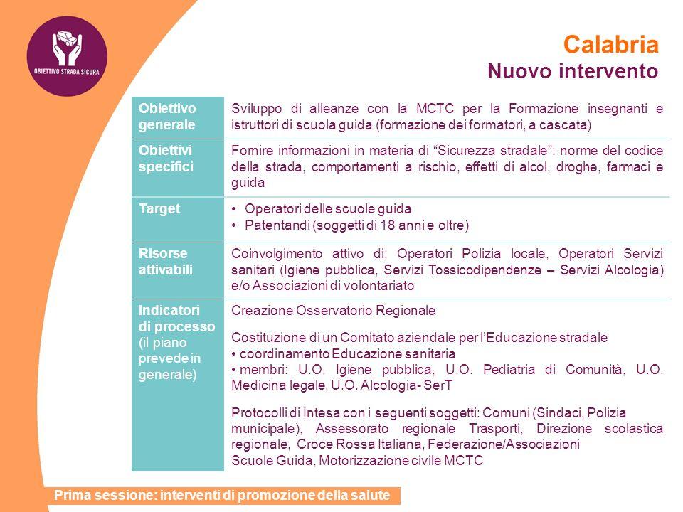 Calabria Nuovo intervento Obiettivo generale Sviluppo di alleanze con la MCTC per la Formazione insegnanti e istruttori di scuola guida (formazione de