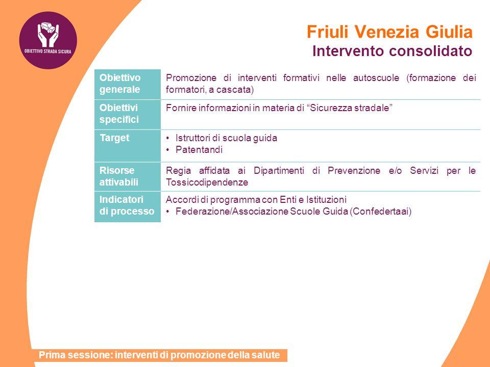 Friuli Venezia Giulia Intervento consolidato Obiettivo generale Promozione di interventi formativi nelle autoscuole (formazione dei formatori, a casca
