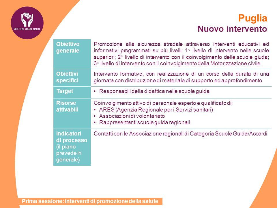 Puglia Nuovo intervento Obiettivo generale Promozione alla sicurezza stradale attraverso interventi educativi ed informativi programmati su più livell