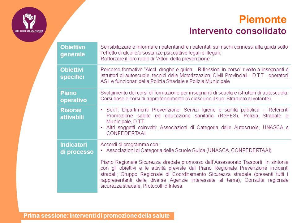 Piemonte Intervento consolidato Obiettivo generale Sensibilizzare e informare i patentandi e i patentati sui rischi connessi alla guida sotto leffetto