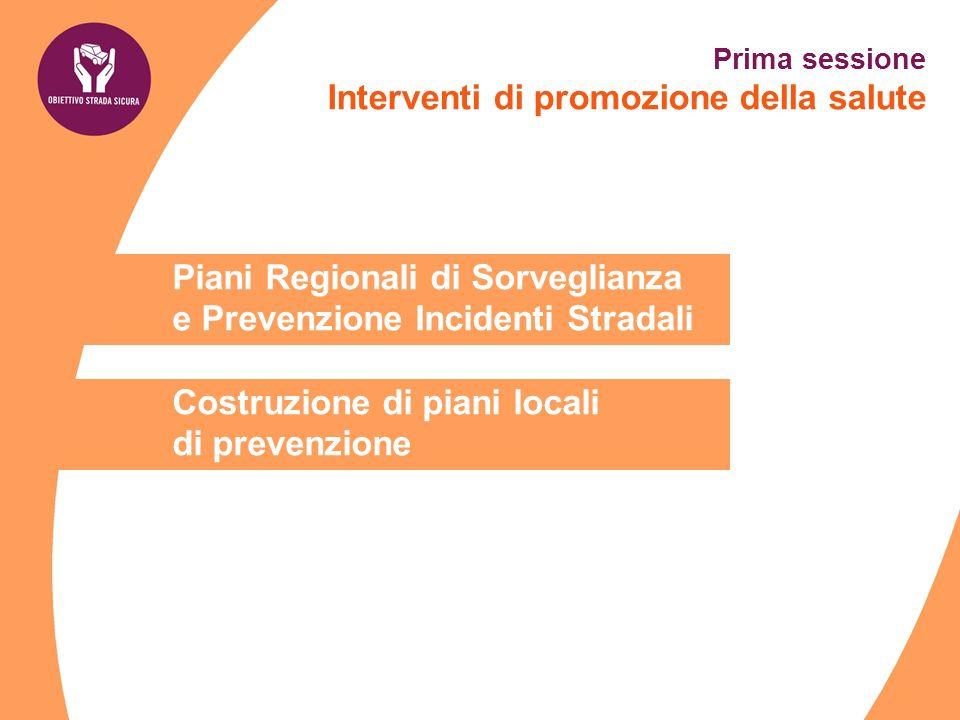 Piani Regionali di Sorveglianza e Prevenzione Incidenti Stradali Costruzione di piani locali di prevenzione Prima sessione Interventi di promozione de