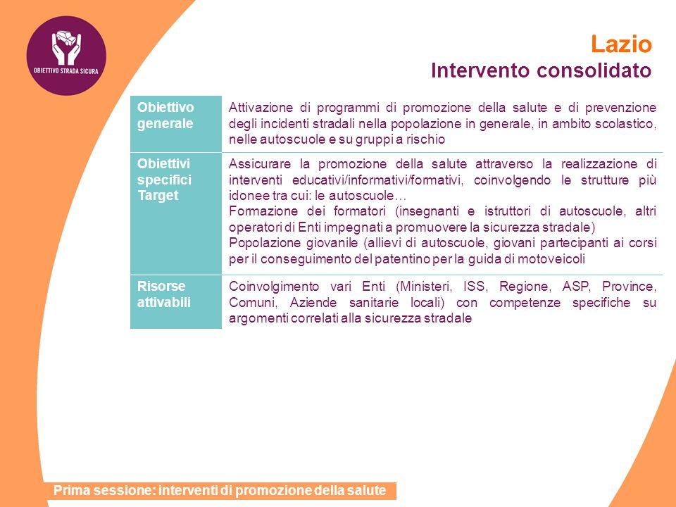 Lazio Intervento consolidato Obiettivo generale Attivazione di programmi di promozione della salute e di prevenzione degli incidenti stradali nella po