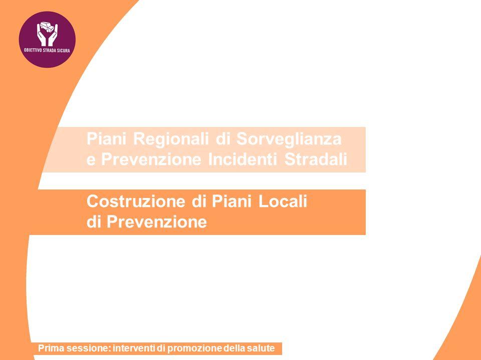 Piani Regionali di Sorveglianza e Prevenzione Incidenti Stradali Costruzione di Piani Locali di Prevenzione Prima sessione: interventi di promozione d