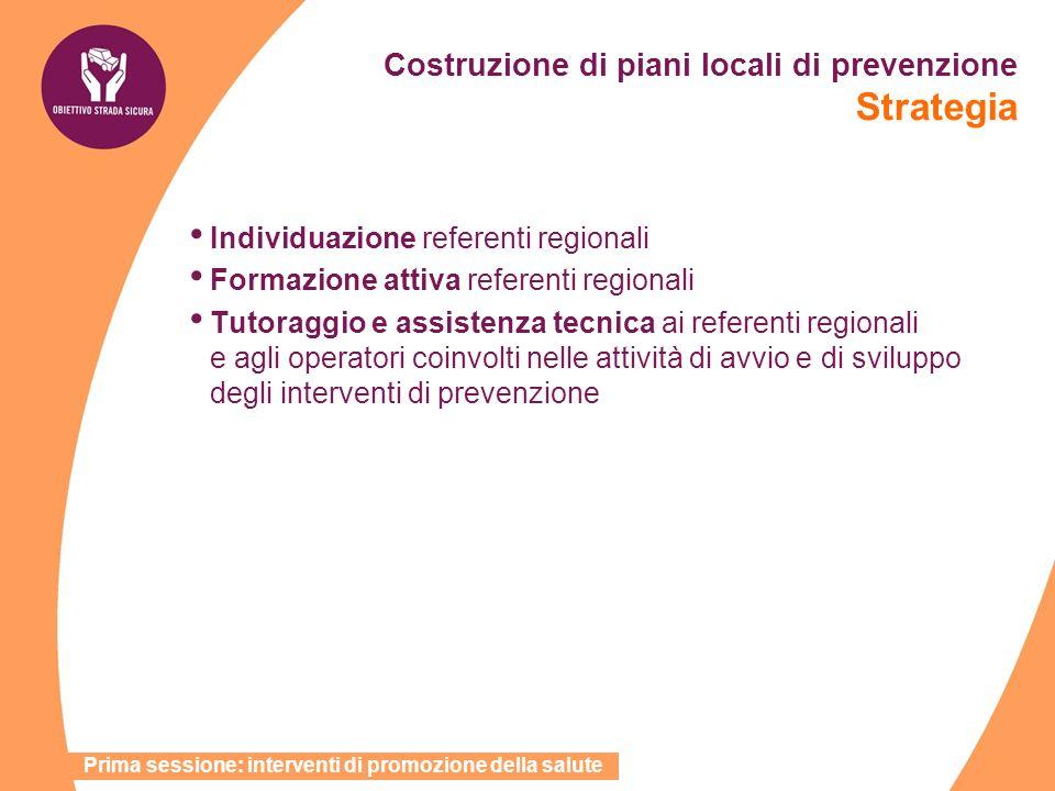 Individuazione referenti regionali Formazione attiva referenti regionali Tutoraggio e assistenza tecnica ai referenti regionali e agli operatori coinv