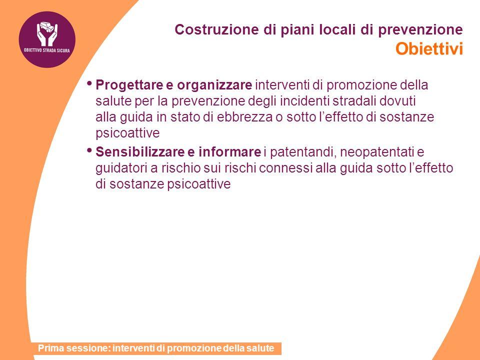 Costruzione di piani locali di prevenzione Obiettivi Progettare e organizzare interventi di promozione della salute per la prevenzione degli incidenti