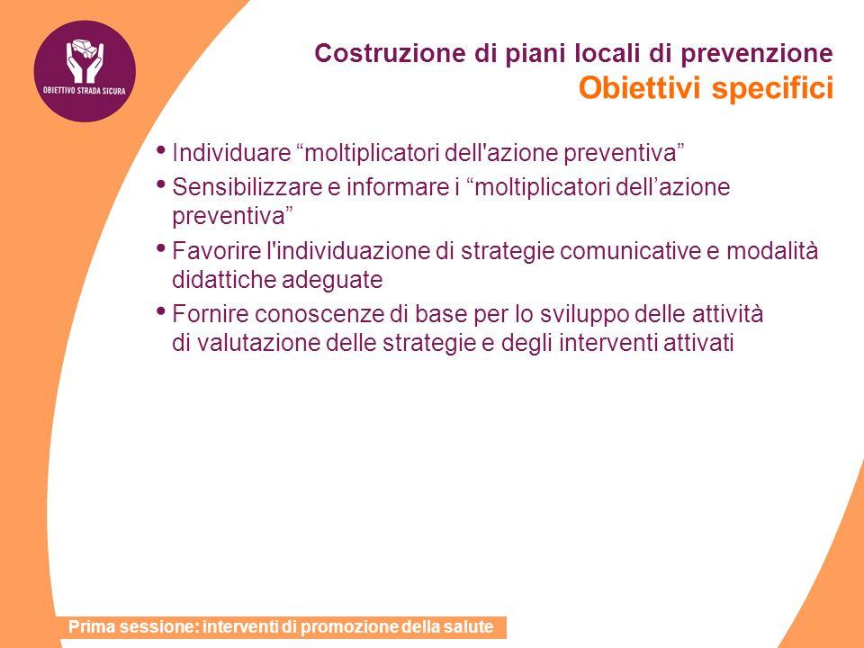 Costruzione di piani locali di prevenzione Obiettivi specifici Individuare moltiplicatori dell'azione preventiva Sensibilizzare e informare i moltipli