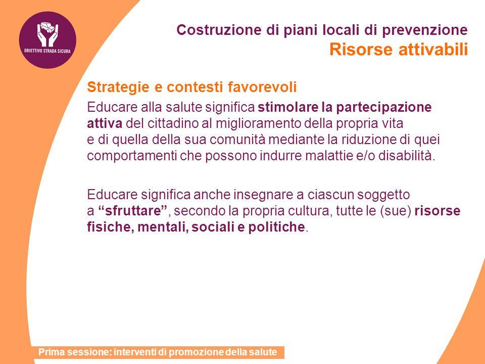 Costruzione di piani locali di prevenzione Risorse attivabili Strategie e contesti favorevoli Educare alla salute significa stimolare la partecipazion