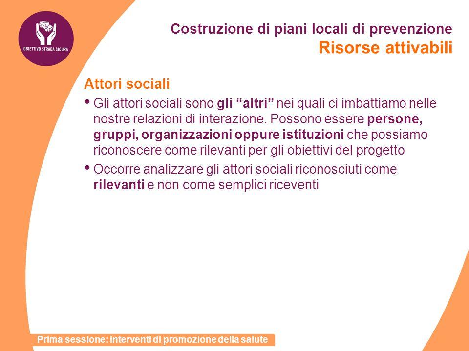 Costruzione di piani locali di prevenzione Risorse attivabili Attori sociali Gli attori sociali sono gli altri nei quali ci imbattiamo nelle nostre re