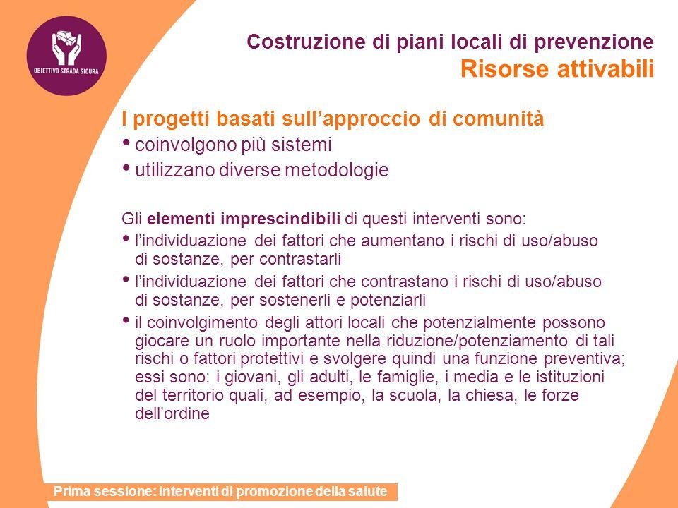 Costruzione di piani locali di prevenzione Risorse attivabili I progetti basati sullapproccio di comunità coinvolgono più sistemi utilizzano diverse m