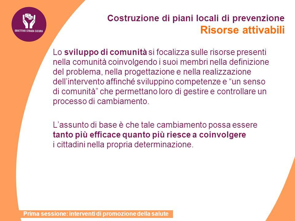 Costruzione di piani locali di prevenzione Risorse attivabili Lo sviluppo di comunità si focalizza sulle risorse presenti nella comunità coinvolgendo