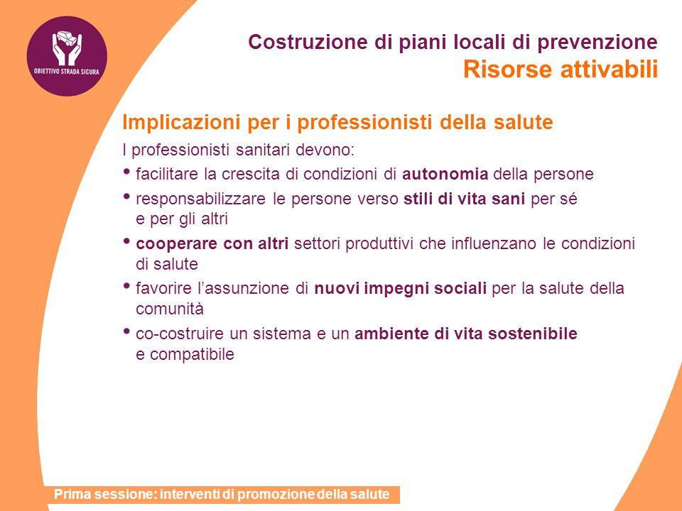 Costruzione di piani locali di prevenzione Risorse attivabili Implicazioni per i professionisti della salute I professionisti sanitari devono: facilit