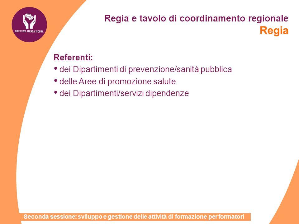 Regia e tavolo di coordinamento regionale Regia Referenti: dei Dipartimenti di prevenzione/sanità pubblica delle Aree di promozione salute dei Diparti