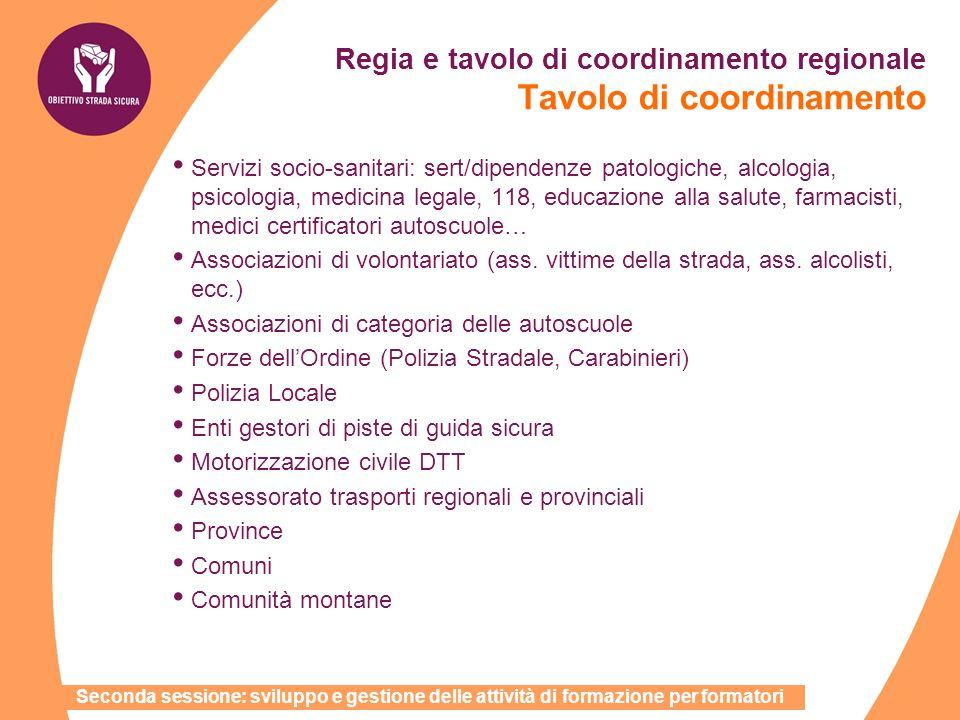 Regia e tavolo di coordinamento regionale Tavolo di coordinamento Servizi socio-sanitari: sert/dipendenze patologiche, alcologia, psicologia, medicina