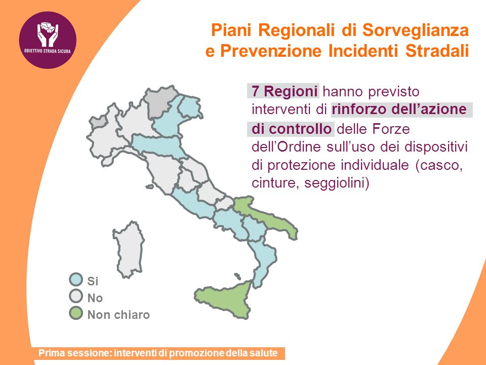 7 Regioni hanno previsto interventi di rinforzo dellazione di controllo delle Forze dellOrdine sulluso dei dispositivi di protezione individuale (casc