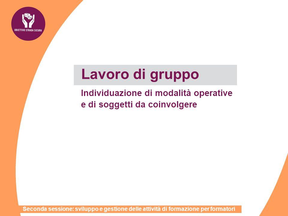 Lavoro di gruppo Individuazione di modalità operative e di soggetti da coinvolgere Seconda sessione: sviluppo e gestione delle attività di formazione