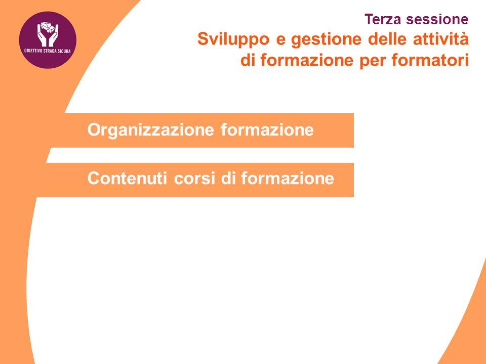Organizzazione formazione Contenuti corsi di formazione Terza sessione Sviluppo e gestione delle attività di formazione per formatori