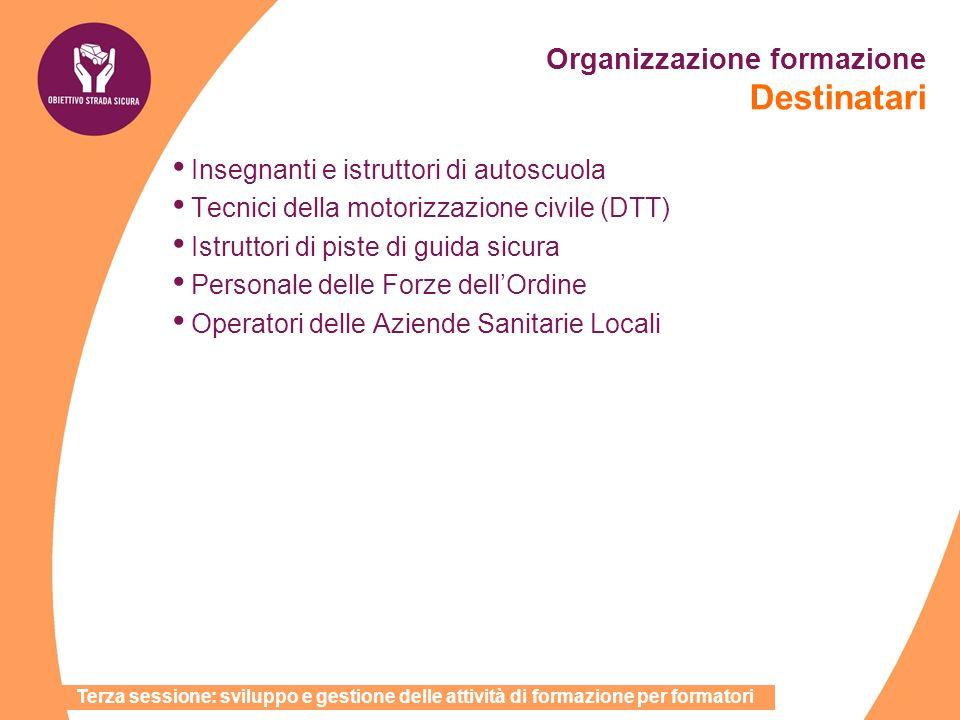 Organizzazione formazione Destinatari Terza sessione: sviluppo e gestione delle attività di formazione per formatori Insegnanti e istruttori di autosc