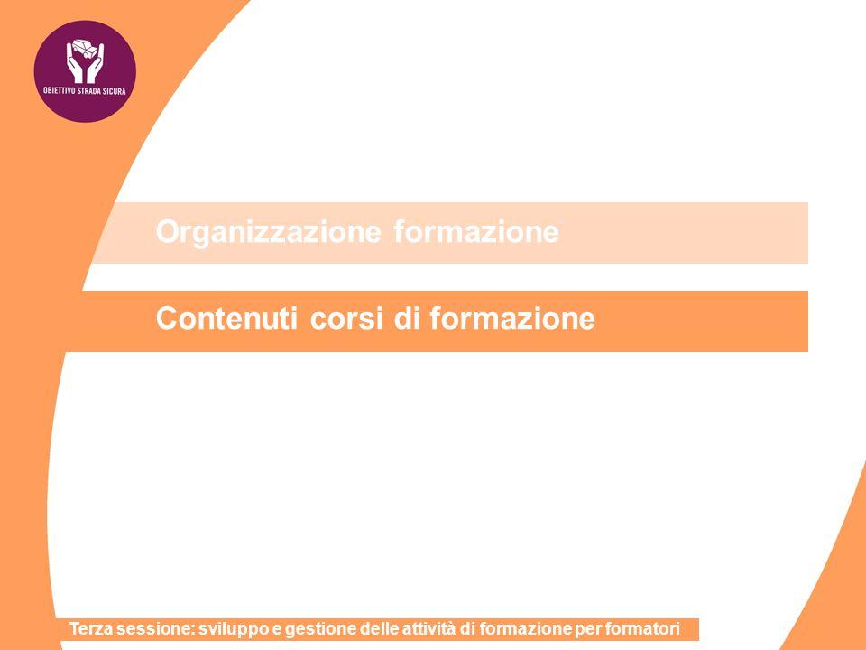 Organizzazione formazione Contenuti corsi di formazione Terza sessione: sviluppo e gestione delle attività di formazione per formatori