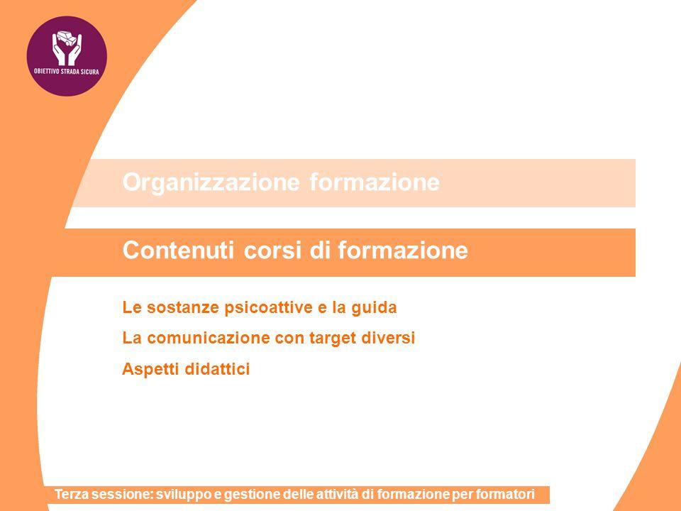 Organizzazione formazione Contenuti corsi di formazione Le sostanze psicoattive e la guida La comunicazione con target diversi Aspetti didattici Terza