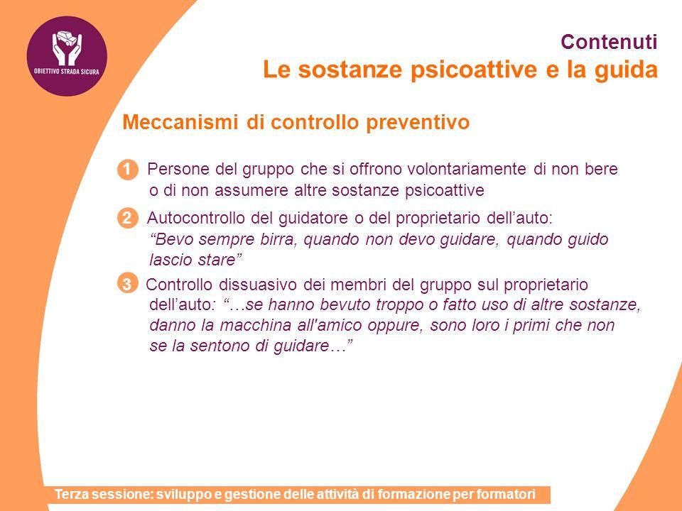 Terza sessione: sviluppo e gestione delle attività di formazione per formatori Contenuti Le sostanze psicoattive e la guida Meccanismi di controllo pr