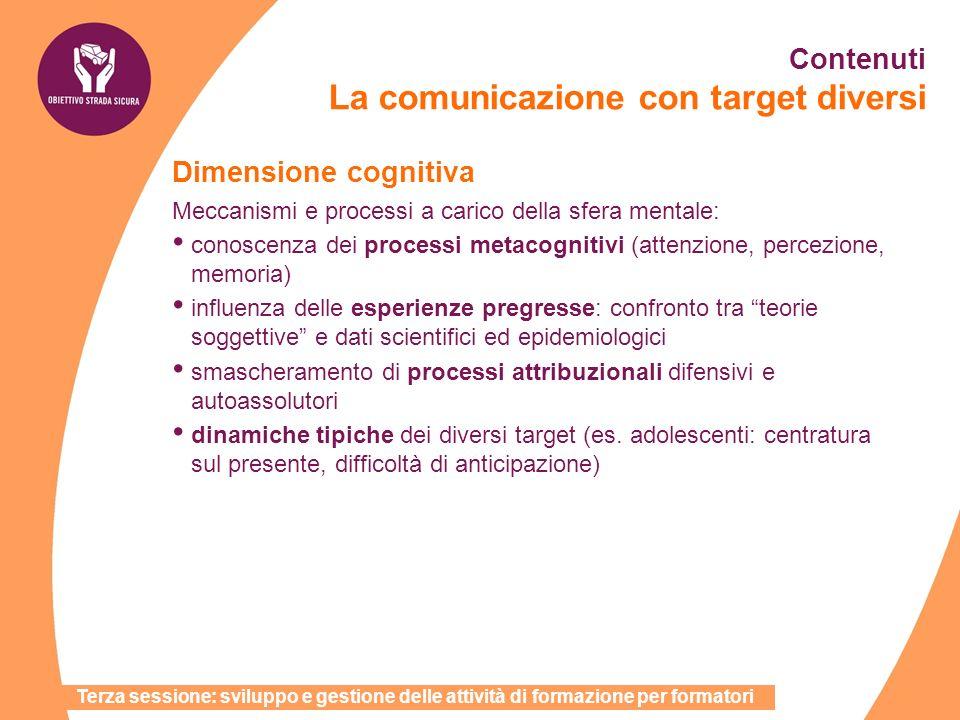 Dimensione cognitiva Meccanismi e processi a carico della sfera mentale: conoscenza dei processi metacognitivi (attenzione, percezione, memoria) influ