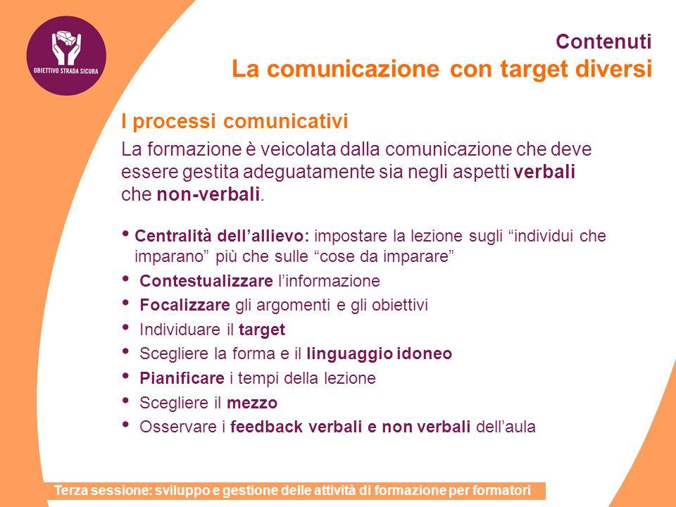 I processi comunicativi La formazione è veicolata dalla comunicazione che deve essere gestita adeguatamente sia negli aspetti verbali che non-verbali.