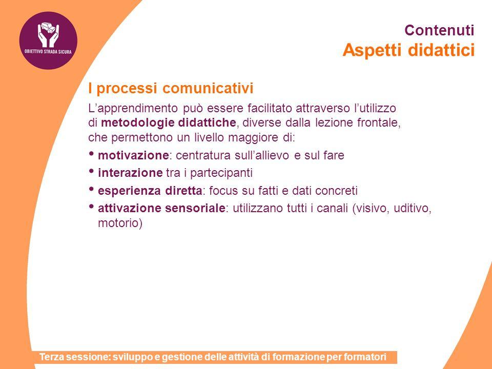 Contenuti Aspetti didattici I processi comunicativi Lapprendimento può essere facilitato attraverso lutilizzo di metodologie didattiche, diverse dalla