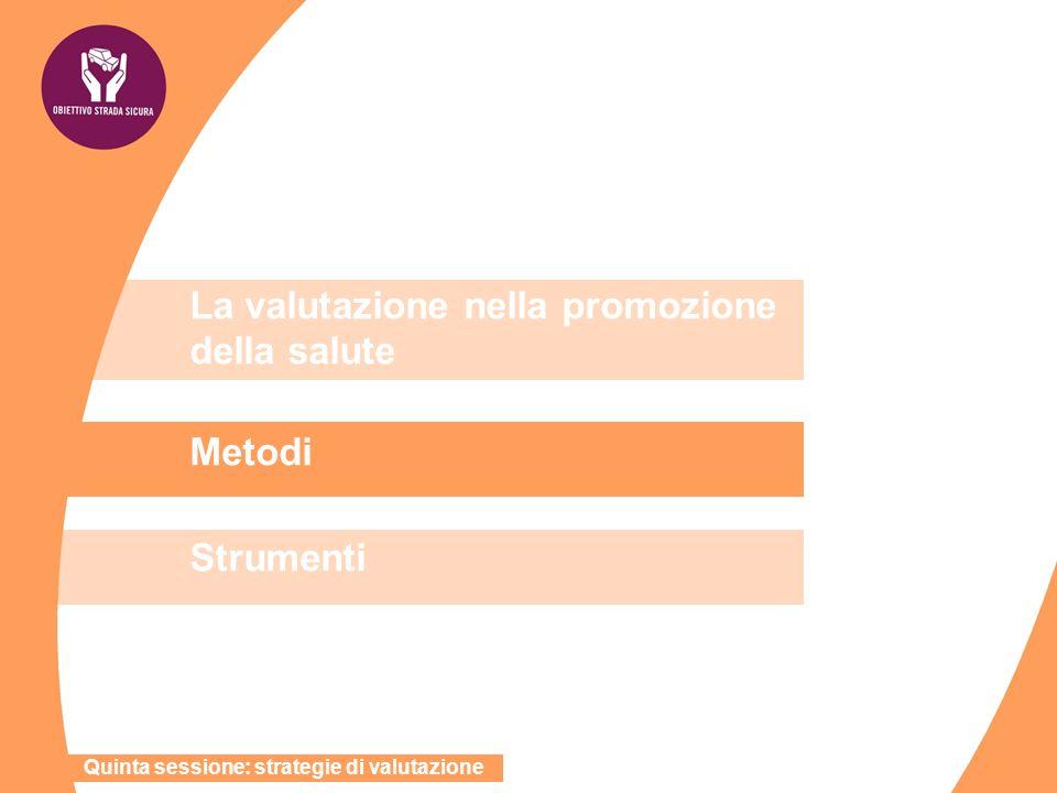 La valutazione nella promozione della salute Metodi Strumenti Quinta sessione: strategie di valutazione
