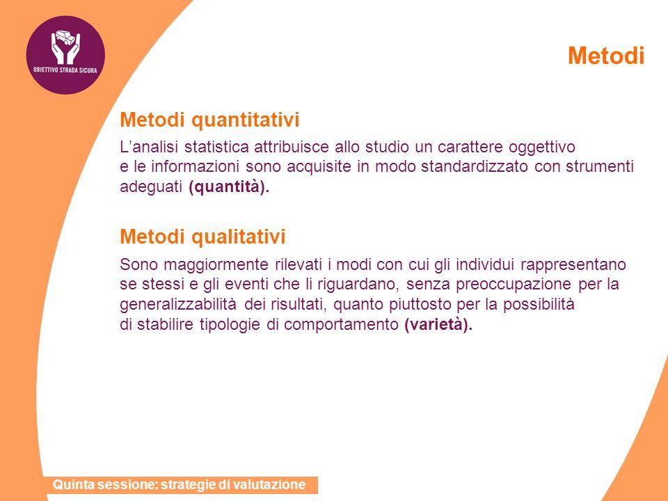 Metodi Metodi quantitativi Lanalisi statistica attribuisce allo studio un carattere oggettivo e le informazioni sono acquisite in modo standardizzato