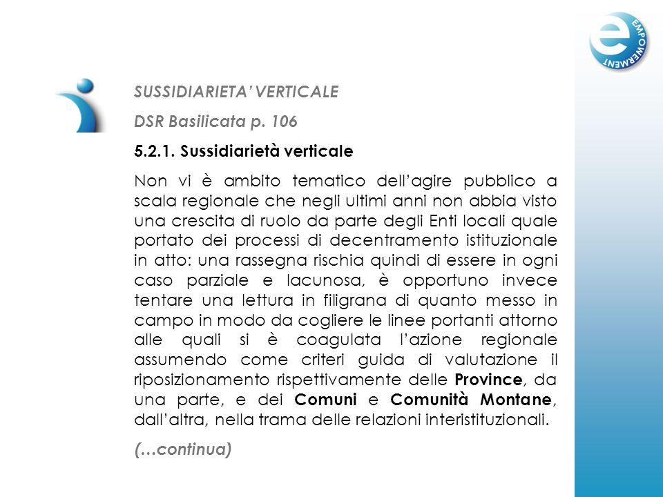 SUSSIDIARIETA VERTICALE DSR Basilicata p. 106 5.2.1. Sussidiarietà verticale Non vi è ambito tematico dellagire pubblico a scala regionale che negli u