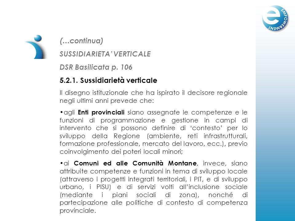 SUSSIDIARIETA VERTICALE DSR Basilicata p. 106 5.2.1. Sussidiarietà verticale Il disegno istituzionale che ha ispirato il decisore regionale negli ulti