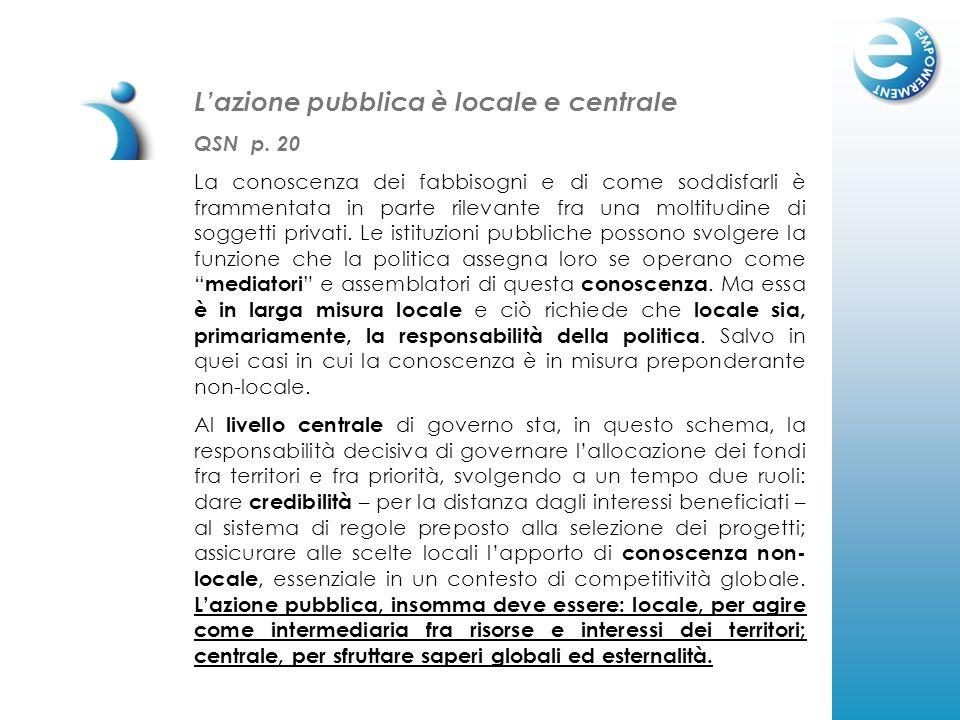 Lazione pubblica è locale e centrale QSN p. 20 La conoscenza dei fabbisogni e di come soddisfarli è frammentata in parte rilevante fra una moltitudine