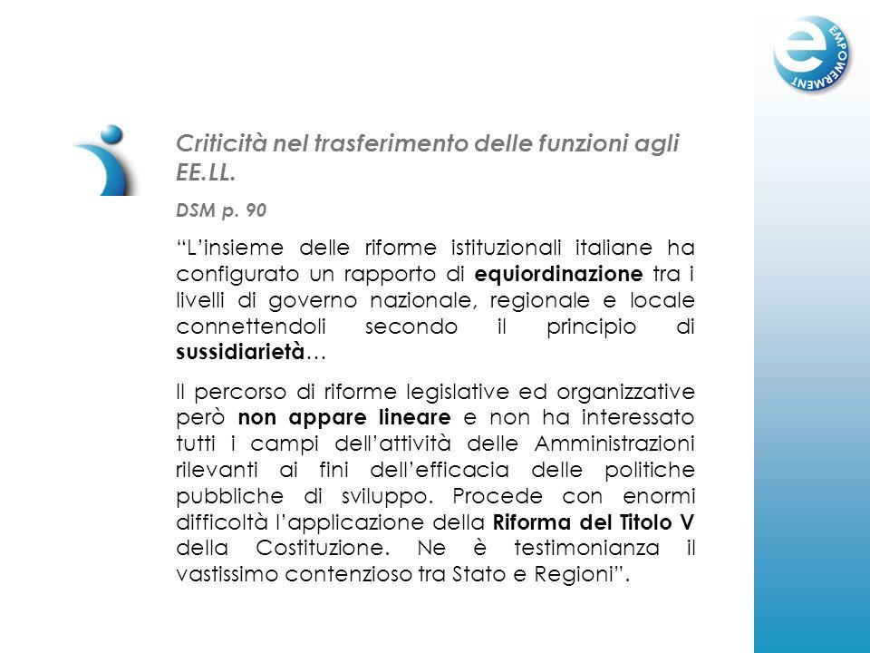 Criticità nel trasferimento delle funzioni agli EE.LL. DSM p. 90 Linsieme delle riforme istituzionali italiane ha configurato un rapporto di equiordin