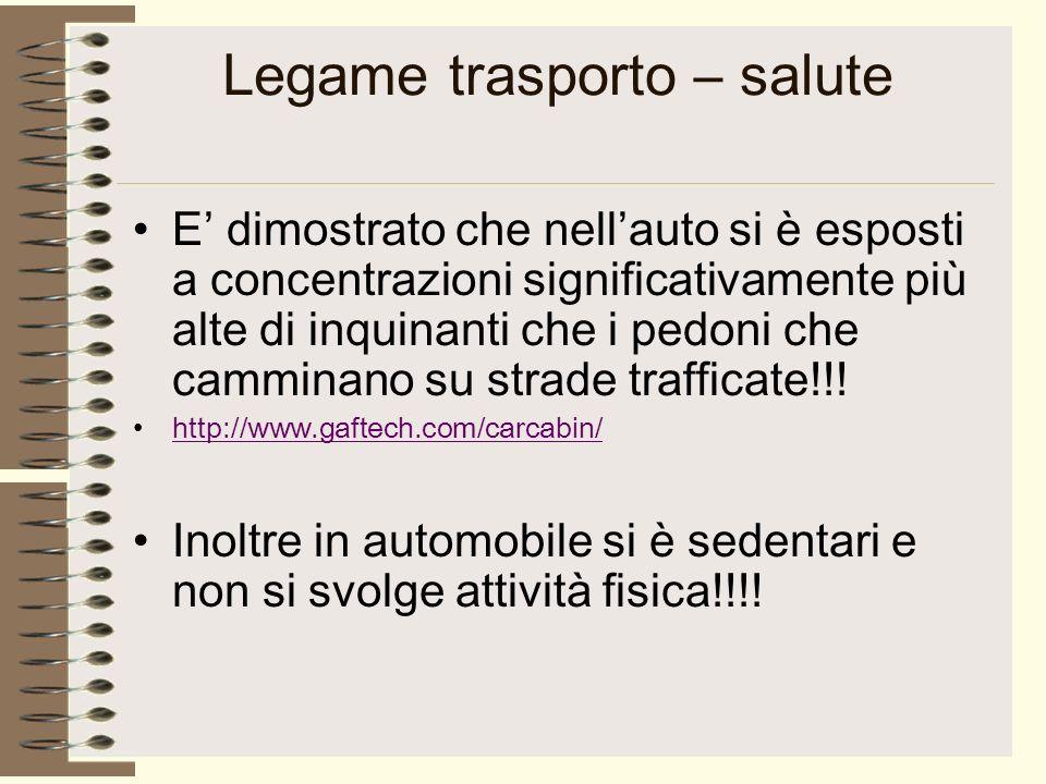 Legame trasporto – salute E dimostrato che nellauto si è esposti a concentrazioni significativamente più alte di inquinanti che i pedoni che camminano su strade trafficate!!.