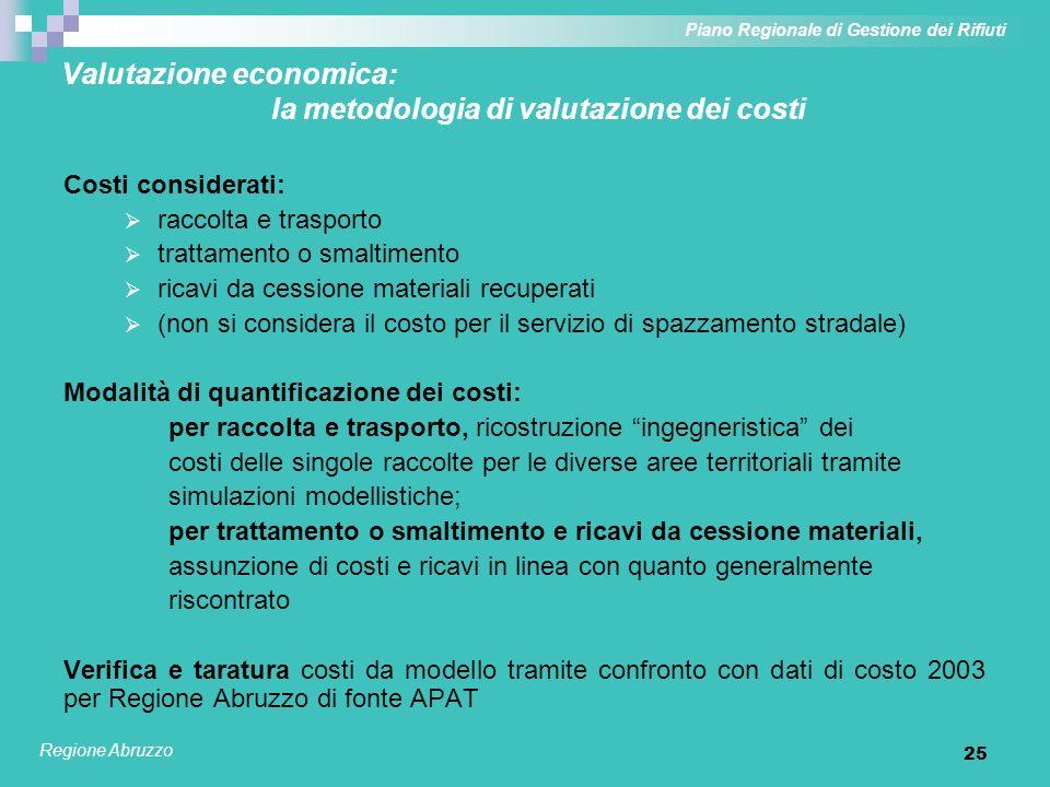 26 Valutazione economica: modellizzazione servizi di raccolta Piano Regionale di Gestione dei Rifiuti Regione Abruzzo