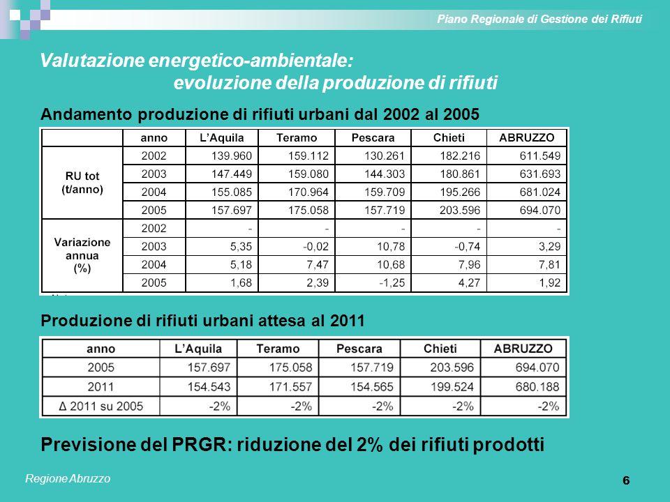 7 Valutazione energetico-ambientale: sviluppo delle raccolte differenziate Estensione progressiva dei servizi di raccolta differenziata integrata Piano Regionale di Gestione dei Rifiuti Regione Abruzzo Previsione del PRGR: 55% di RD al 2011 (anno di riferimento delle analisi); obiettivo guida del 65% sul lungo periodo