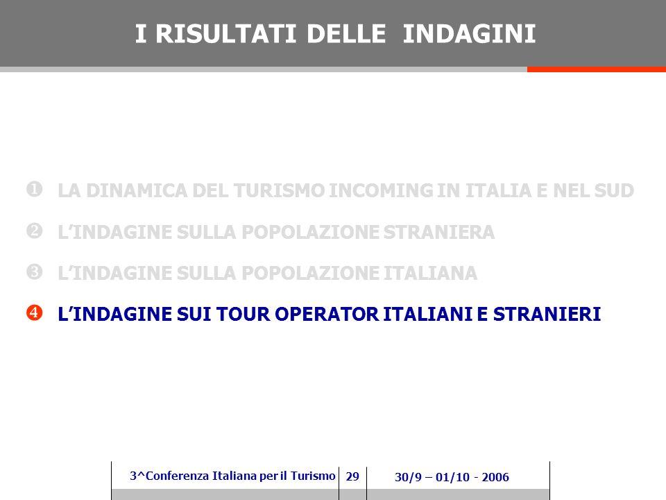 29 3^Conferenza Italiana per il Turismo 30/9 – 01/10 - 2006 LA DINAMICA DEL TURISMO INCOMING IN ITALIA E NEL SUD LINDAGINE SULLA POPOLAZIONE STRANIERA LINDAGINE SULLA POPOLAZIONE ITALIANA LINDAGINE SUI TOUR OPERATOR ITALIANI E STRANIERI I RISULTATI DELLE INDAGINI