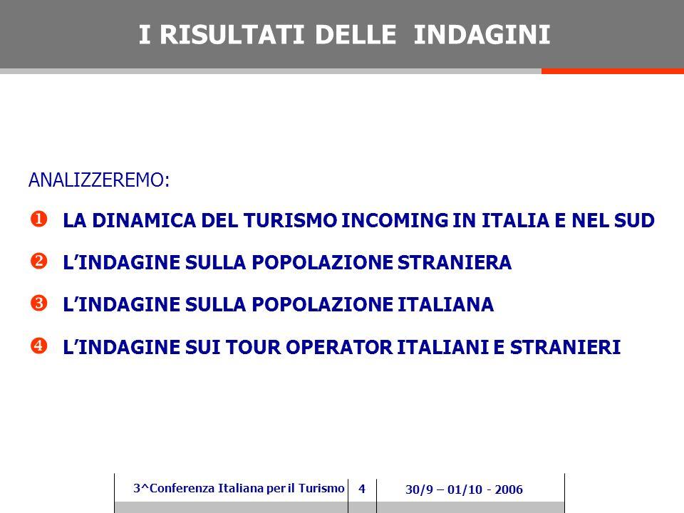 4 3^Conferenza Italiana per il Turismo 30/9 – 01/10 - 2006 ANALIZZEREMO: LA DINAMICA DEL TURISMO INCOMING IN ITALIA E NEL SUD LINDAGINE SULLA POPOLAZIONE STRANIERA LINDAGINE SULLA POPOLAZIONE ITALIANA LINDAGINE SUI TOUR OPERATOR ITALIANI E STRANIERI I RISULTATI DELLE INDAGINI