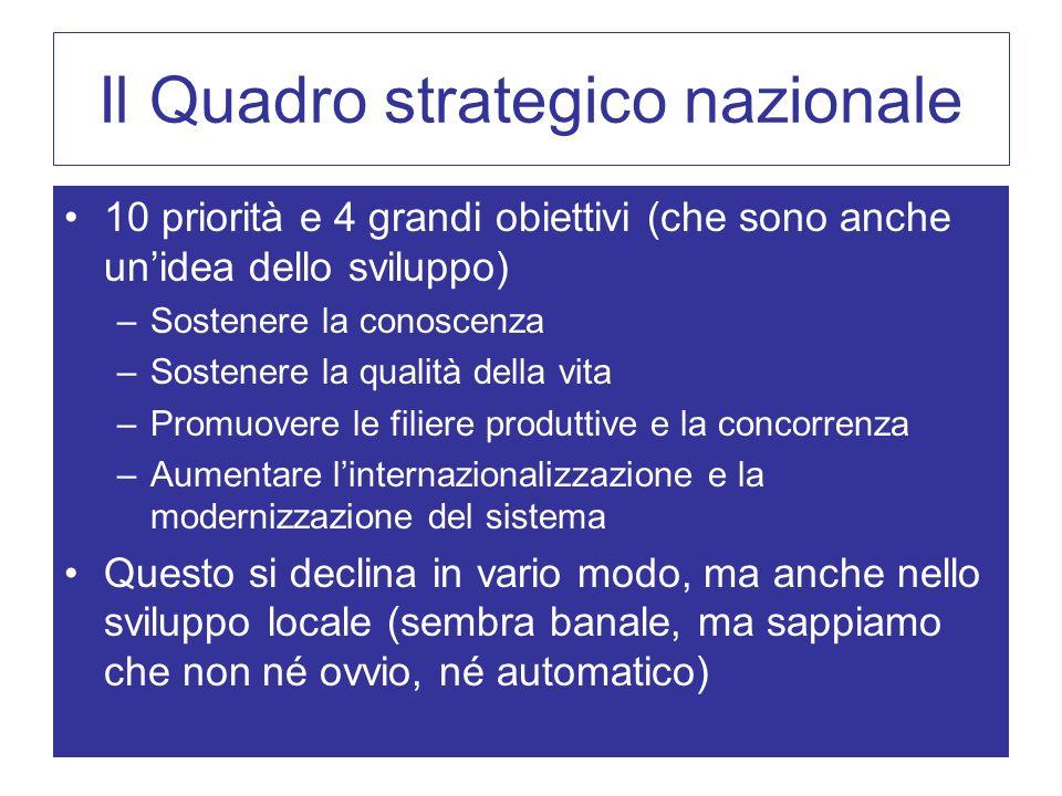 Il Quadro strategico nazionale 10 priorità e 4 grandi obiettivi (che sono anche unidea dello sviluppo) –Sostenere la conoscenza –Sostenere la qualità