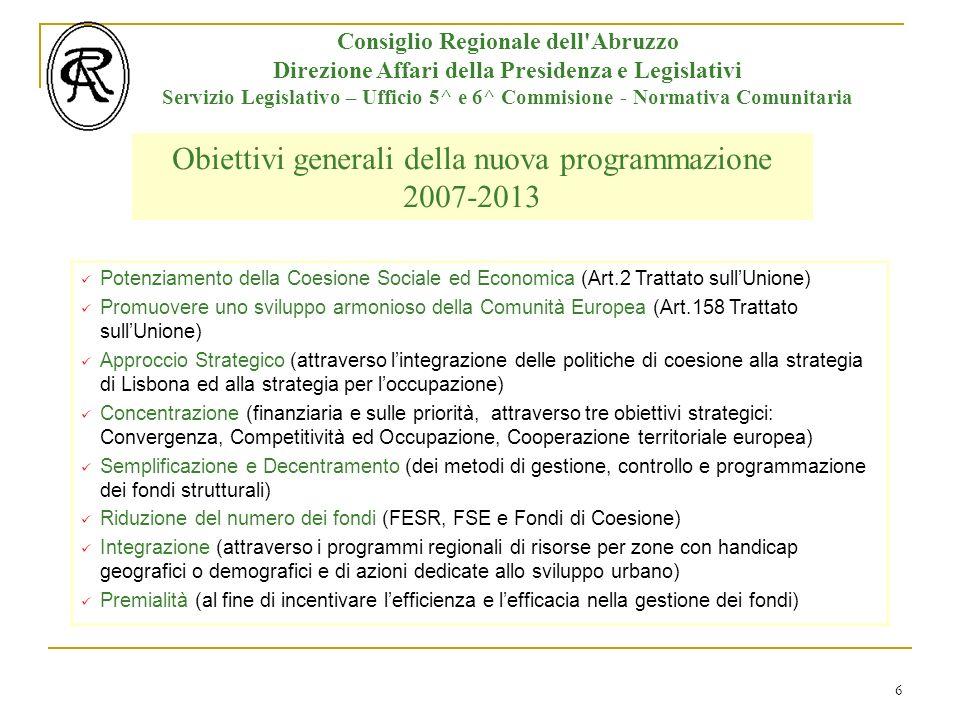 6 Consiglio Regionale dell Abruzzo Direzione Affari della Presidenza e Legislativi Servizio Legislativo – Ufficio 5^ e 6^ Commisione - Normativa Comunitaria Potenziamento della Coesione Sociale ed Economica (Art.2 Trattato sullUnione) Promuovere uno sviluppo armonioso della Comunità Europea (Art.158 Trattato sullUnione) Approccio Strategico (attraverso lintegrazione delle politiche di coesione alla strategia di Lisbona ed alla strategia per loccupazione) Concentrazione (finanziaria e sulle priorità, attraverso tre obiettivi strategici: Convergenza, Competitività ed Occupazione, Cooperazione territoriale europea) Semplificazione e Decentramento (dei metodi di gestione, controllo e programmazione dei fondi strutturali) Riduzione del numero dei fondi (FESR, FSE e Fondi di Coesione) Integrazione (attraverso i programmi regionali di risorse per zone con handicap geografici o demografici e di azioni dedicate allo sviluppo urbano) Premialità (al fine di incentivare lefficienza e lefficacia nella gestione dei fondi) Obiettivi generali della nuova programmazione 2007-2013